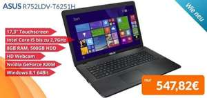 Asus 17 Zoll Touch Notebook R752LDV-T6251H bei PreiswertePC