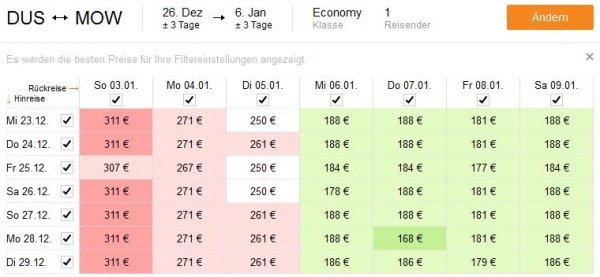 Düsseldorf (und andere Flughäfen) -> Moskau über Silvester mit Lufthansa 177€ (AirBaltic 168€)