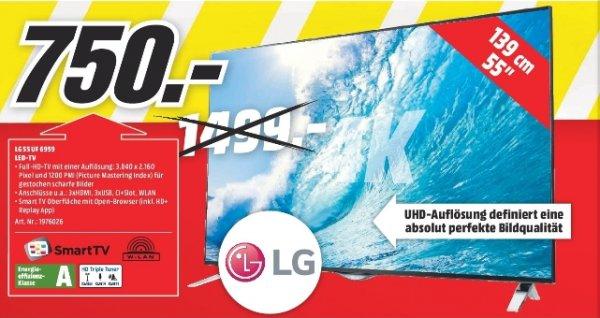 [Lokal Mediamärkte Berlin + Barandenburg] LG LG LG 55UF6959, 139 cm (55 Zoll), UHD 4K, LED TV, 900 UCI, DVB-T, DVB-C, DVB-S, DVB-S2, Kategorie: LCD / LED-TVs, EEK: A für 750,-€