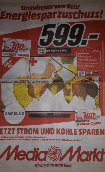 [Lokal Mediamarkt Eislingen] - SAMSUNG UE 55 J 6150, 138cm (55Zoll) für umgerechnet 499€