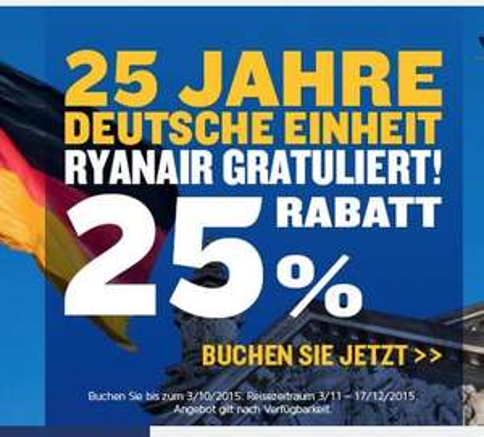 Ryanair - 25% auf alle Flüge - Flüge ab 7,49€ je Strecke - Reisezeitraum: Nov - Dez