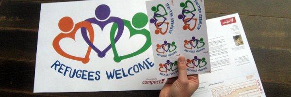 Kostenloses Paket mit Postern & Aufklebern: Refugees Welcome bei Campact