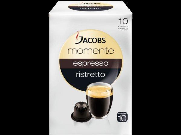 [Mediamarkt-Online] JACOBS 913289 Momente Espresso Ristretto 10 Kapseln Kaffeekapseln Espresso Ristretto (Intensität 10) für 2 Euro, VSK Frei