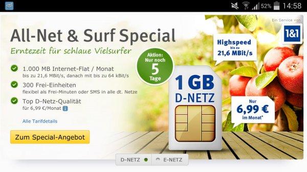 1&1 Special: 300 Min/SMS + 1GB ab 4,99€ oder bis zu 2GB für 9,99€