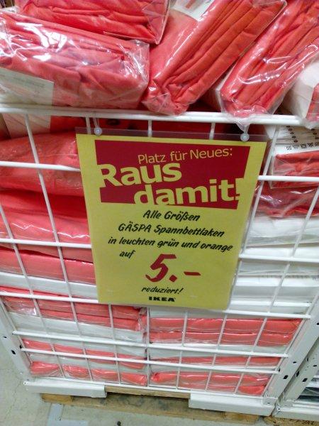 [lokal] Ikea Düsseldorf Gäspa Spannbettlaken (Satin, 100% BW) alle Größen, Farben orange und grün