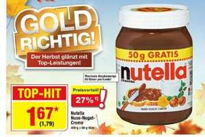 [OFFLINE] evtl. BUNDESWEIT Metro 500g Nutella für 1.79 (inkl. MwSt.)