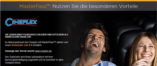 Kinoticket mit Masterpass bezahlen und 5€ Cineplex Gutschein bekommen