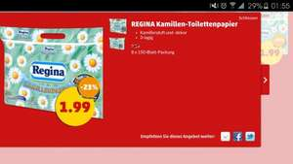 (Penny Bundesweit) Regina Toilettenpapier 8 Rollen für 1,49€ für wahre mydealerz ein muss für das Gäste WC!