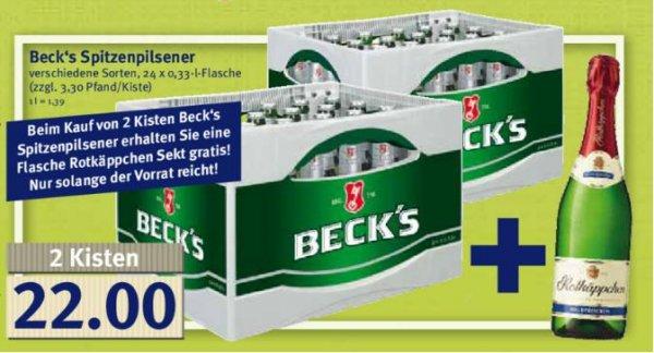 [lokal Combi] zwei Kisten Beck's 0,33 plus Flasche Rotkäppchen