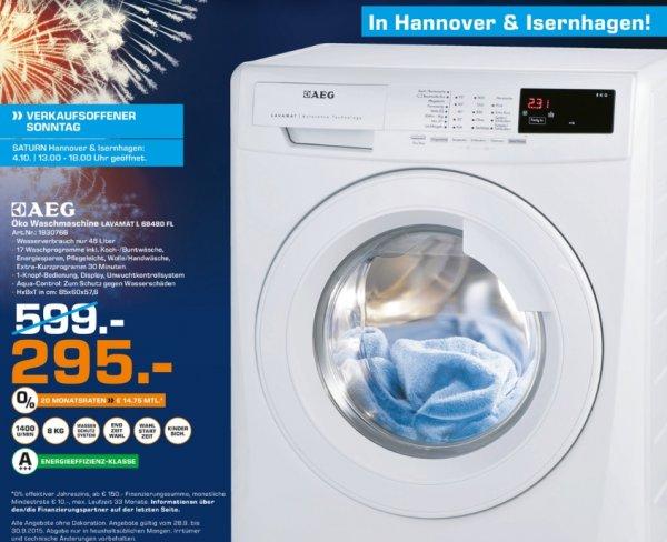 [Lokal Saturn Hannover] AEG LAVAMAT L68480FL Waschmaschine FL / Energieeffizienzklasse: A+++ / 190 kWh/Jahr / 1400 UpM / Füllmenge: 8 kg / 9999 L/Jahr / XXL-Türöffnung / weiß für 295,-€