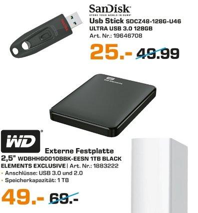 [Lokal Saturn Hannover-Speicherangebote] WD 1 TB. Exclusive Edition inkl. Schutzhülle (1 TB, 2.5 Zoll, extern) für 49,-€***SanDisk Ultra USB3.0 128 GB (USB Stick) für 25,-€***Samsung microSDHC EVO 16GB Class 10 UHS-I für 5,-€