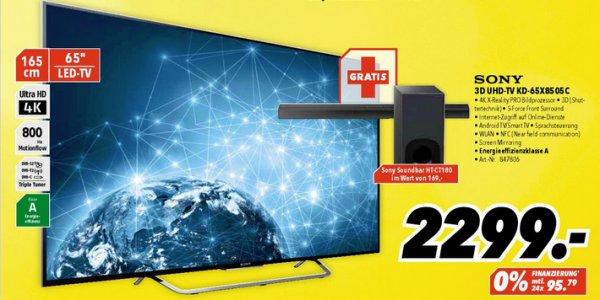 "[MEDIMAX] Sony 65"" 4K 3D UHD-TV KD-65X8505C + Sony Soundbar HT-CT180 für 2299€ (Idealo: 3005,95€)"