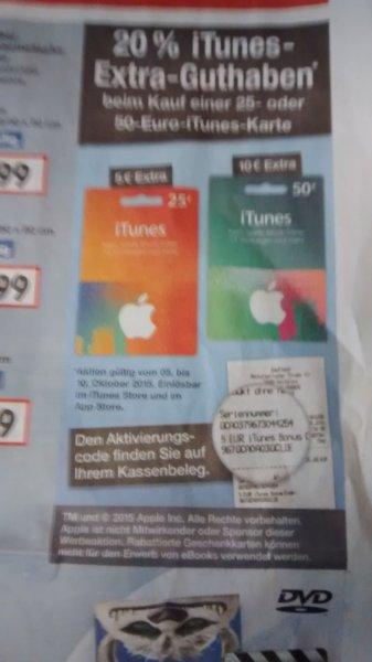 20% Extra iTunes Guthaben beim Kauf einer 25€ und 50€ Guthabenkarte bei Kaufland [bundesweit]