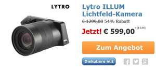 (iBood.de) Lytro ILLUM Lichtfeld-Kamera 2. Gen (40 Megaray Sensor, 8,3-fach opt. Zoom, 30-250 mm Brennweite)(273€ unter Idealo)