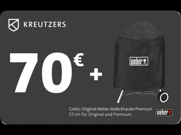 KREUTZERS 70€ inkl. Weber Abdeckhaube Premium 57cm bei Saturn online für 39€