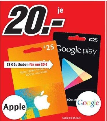 [Lokal Mediamarkt Plauen] 25,-€ Google Play Guthaben für 20,-€...Sehr Selten. Nur noch bis einschliesslich 01.10
