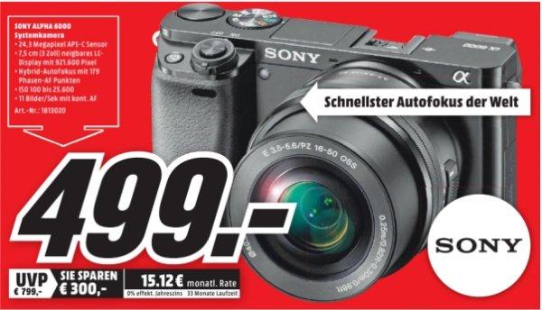 [Lokal Mediamarkt Nordhausen] Sony Alpha 6000+16-50mm schwarz (ILCE-6000L) Systemkamera inkl. Objektiv 16-50 mm f/3.5-5.?6 (24,3 Megapixel, Exmor APS HD CMOS) für 499,-€