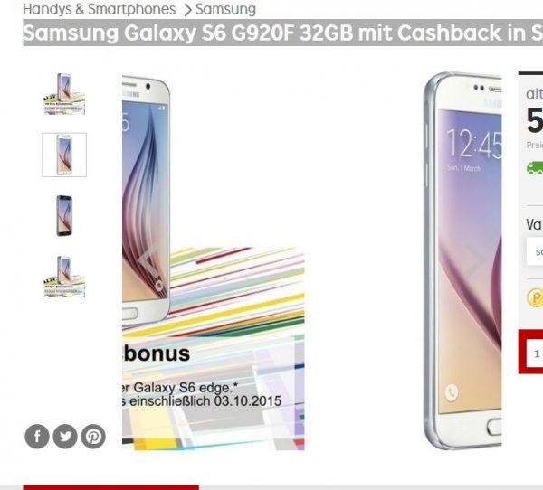 Samsung Galaxy S6 G920F 32GB mit Cashback in Schwarz@Rakuten 539 € (-100 € Einheitsbonus -137 € Rakutenpunkte)