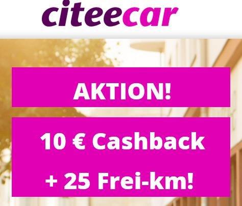 CiteeCar Freunde werben: 10 € Cashback für dich, kostenlose Anmeldung für Geworbenen, 25 Freikilometer für beide
