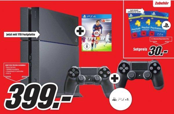 [Lokal Mediamarkt Jena] Sony Playstation 4 (Neue Version) mit 1TB + FIFA 16 + 2. Controller für 399,-€***Zusätzlich 3x3 Monate PS Plus für zusammen 30,-€