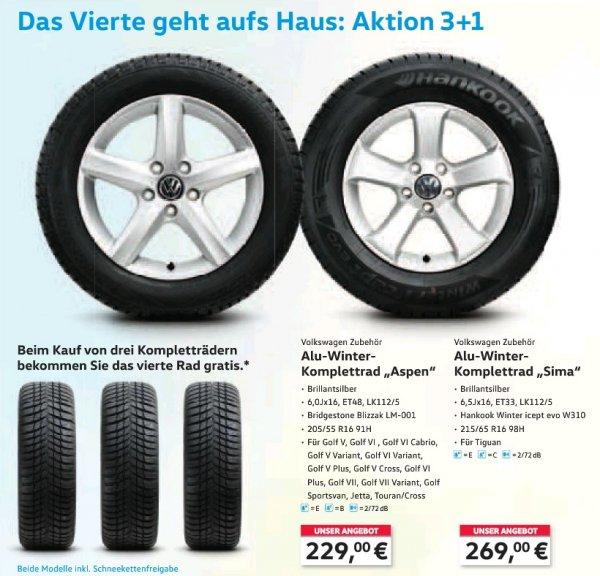 Volkswagen Winterkomplettrad 3 Räder bezahlen + das 4. Rad gratis
