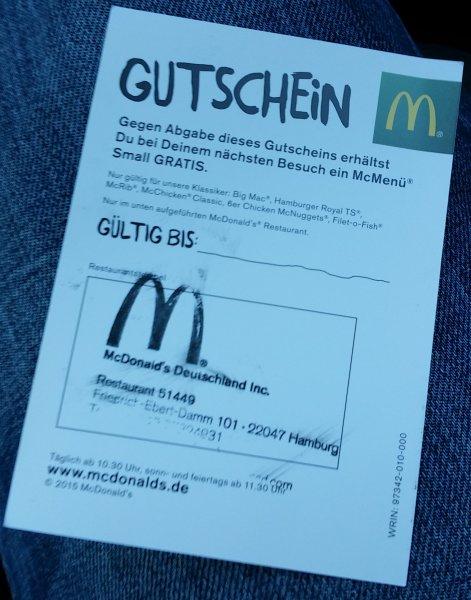 (Lokal, Hamburg, nur heute bis 14Uhr) Gratis McDonalds-Gutschein für McMenü Small