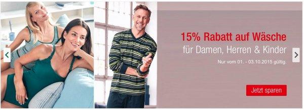 [Galeria Kaufhof] 15% Rabatt auf das gesamte Wäschesortiment für Damen, Herren, Kinder, kostenloser Versand möglich
