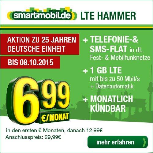 Neuer LTE HAMMER: Nur 6,99 Euro in den ersten 6 Monaten für 1 GB LTE & Allnet-Flat