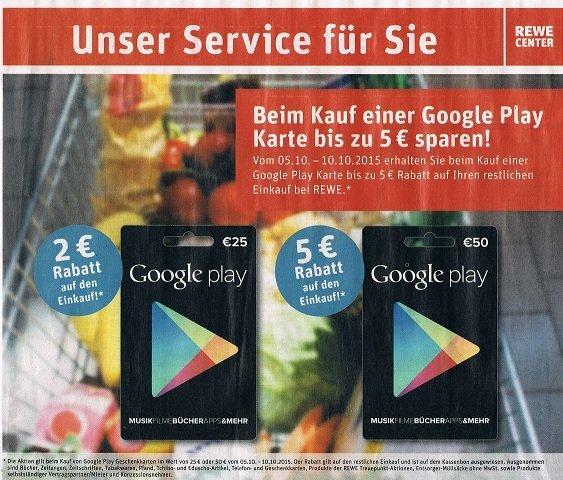 [REWE bundesweit] 2€ bzw. 5€ Rabatt auf Google Play Karten