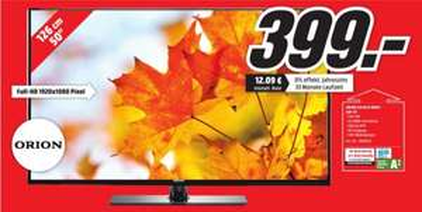 [Lokal Mediamarkt Porta Westfalica] ORION CLB50B1080S. Günstiger 50 Zoll TV mit Full-HD,USB Mediaplayer,DVB-T, DVB-C, DVB-S, DVB-S2,200 Hz MRR,Energie A++ für 399,-€
