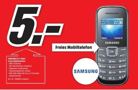 [Lokal Mediamarkt Dresden-Centrum-Galerie ] Tagesangebot.Nur gültig am 02.10...Samsung E1200 Handy (3,9 cm (1,52 Zoll) Display, Dual-Band, Worterkennung) black für lockere 5,-€