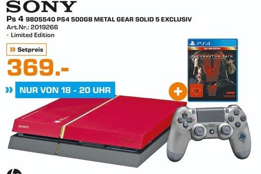 [Lokal Saturn Paderborn] Nur heute am 02.10 in der Zeit von 18-20 Uhr...PlayStation 4 Metal Gear Solid V - The Phantom Pain - Limited Edition 500GB (CUH-1216A-Neue Revision) für 369,-€