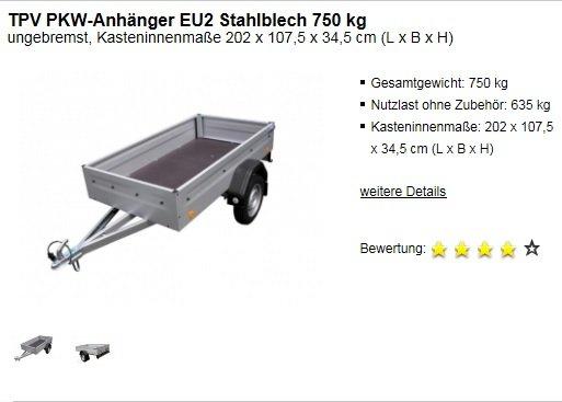 PKW-Anhänger ungebremst 750 kg