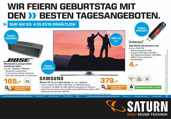 [Lokal Saturn Gelsenkirchen] Nur am 04.10.2015 Samsung UE43J5670 109 cm (43 Zoll) Fernseher (Full HD, Triple Tuner, Smart TV)