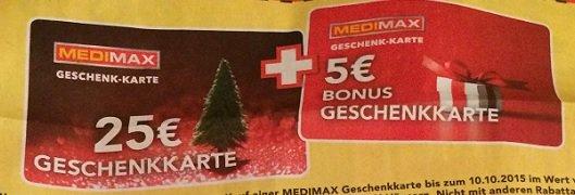 [KW 41] Medimax M-V Geschenkkarte - 30€ für 25€, 60€ für 50€ und 120€ für 100€ - 16,66% Rabatt