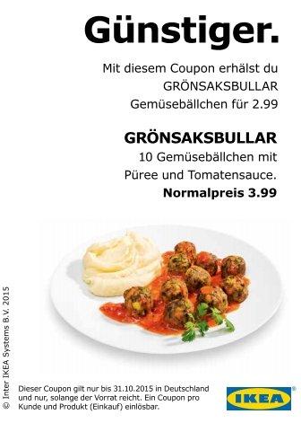 ikea Restaurant 10 GRÖNSAKSBULLAR mit Püree und Tomatensauce für 2.99€ statt 3,99€