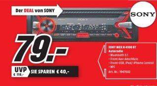 [Lokal Mediamarkt Wuppertal] NUR am Sonntag 04.10 gültig! Sony MEX-N4100BT Autoradio (CD-Player, NFC, Bluetooth, USB/AUX, Apple iPod/iPhone Control, 4x 55 Watt) schwarz für 79,-€
