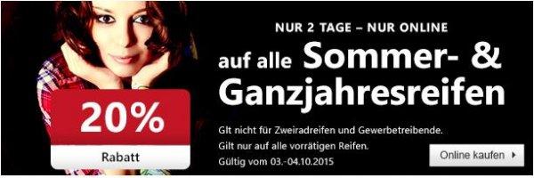 ATU - 20% Rabatt auf Ganzjahres- & Sommerreifen am 3.& 4.10