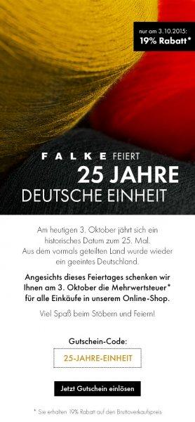 FALKE - NUR HEUTE (03.10.) 19% MwSt. geschenkt + 8% Qipu Cashback -> auch auf SALE