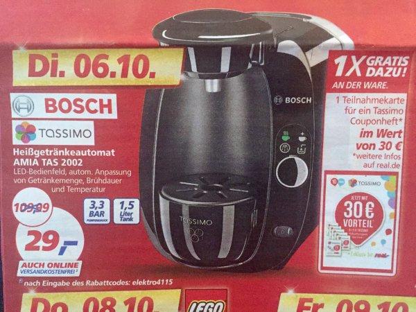 [Real] Bosch Tassimo Heißgetränkeautomat für 29€ inkl. 30€ Couponheft (nur am 6.10.)