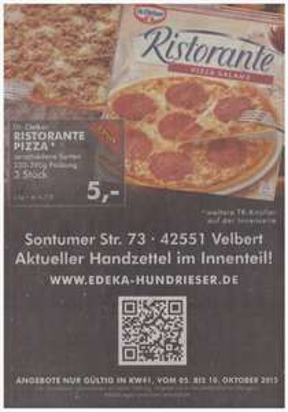 """[Edeka, 42551 Velbert] 3x Dr. Oetker """"Ristorante Pizza"""" versch. Sorten für 5,00 EUR"""