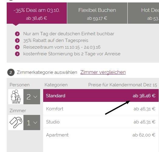 Hotel Doppelzimmer in Berlin für 38,46 € nur 03.10