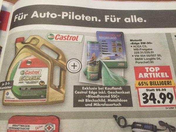 34,99€ Castrol Motoröl Edge 5W-30 , 5L Kanister + Gratis Blechschild und Mikrofasertuch [Kaufland] ab 12.10