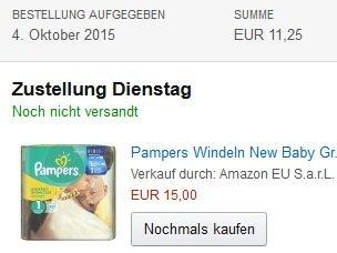 Pampers Windeln New Baby Gr. 1 Newborn 2-5 kg Tragepack, 4er Pack (4 x 23 Stück) für 11,7 Cent die Windel