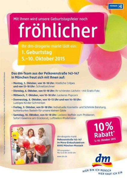 [lokal München] 10% Rabatt bei dm, Pelkovenstraße (+ Freebies)