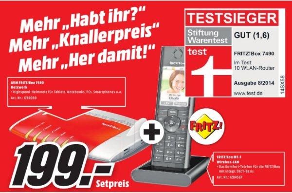 [Lokal Mediamarkt Bayreuth] AVM WLAN Router mit Modem FRITZ!Box 7490 + AVM FRITZ!Fon MT-F für 199,-€