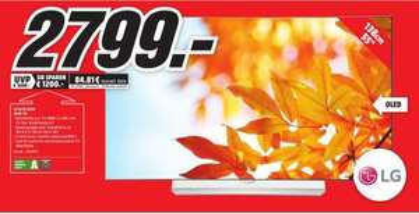 [Lokal Mediamarkt Neubrandenburg-TV Sammeldeal] Zb. LG 55EG9209 139 cm (55 Zoll) Curved OLED Fernseher (Ultra HD, Triple Tuner, 3D, Smart-TV) für 2799,-€ uvm.