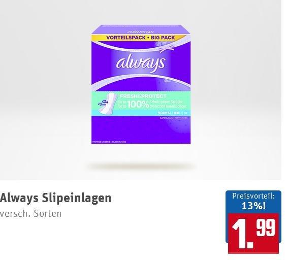 [REWE] Always Slipeinlagen für 0,99€