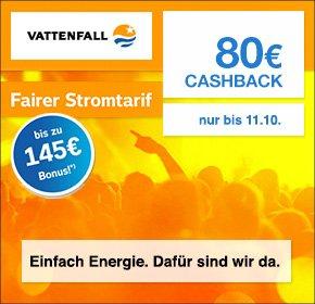 [Qipu] Vattenfall: 145€ Willkommens-Bonus + 80€ Cashback
