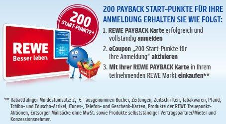 REWE 200 Payback Punkte (=2,00 Euro) für Ihre Neuanmeldung bis 25.10.2015